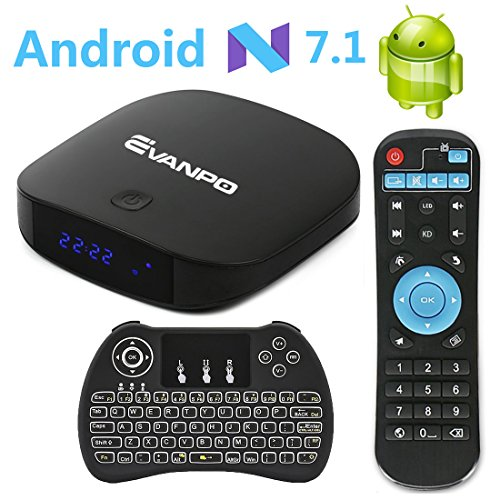 EVANPO Android 7.1 TV Box Smart TV Player Media Box Quad Core CPU 2GB 16GB Support 4K/3D/BT 4.0/2.4GHz WiFi Set Top Boxes Android Mini PC with Wireless Keyboard Remote (Backlit)