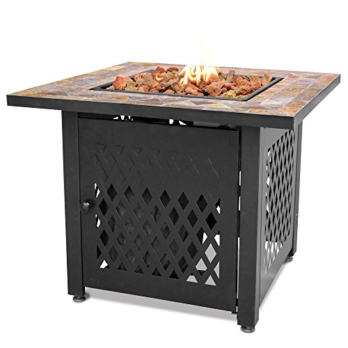UniFlame Endless Summer LP Gas Fire Pit with Slate Tile Mantel ()