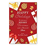 30 Christmas greeting card gifts gold red personalized photo paper