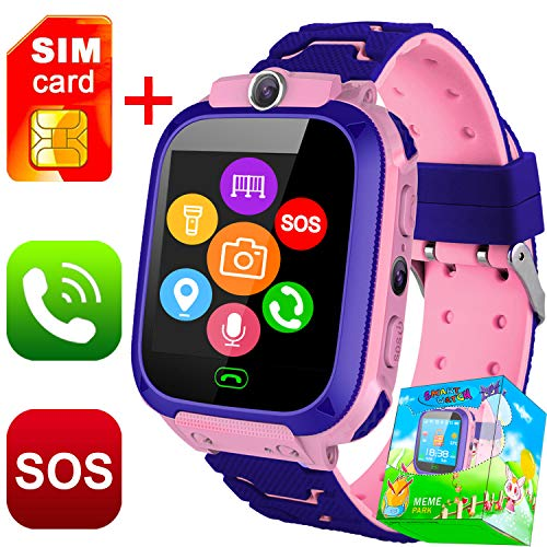 (Kids Smart Watch Phone with SIM Card for Boys Girls GPS Tracker Watch with Touch Screen Games SOS Camera Anti-Lost Wristband Bracelet Digital Wrist Watch Birthday Gifts (Pink))