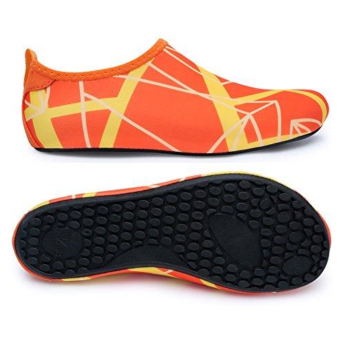 L-RUN Unisex Wasser Schuhe Barfuß Haut Schuhe für Dive Surf Swim Beach Yoga Orange