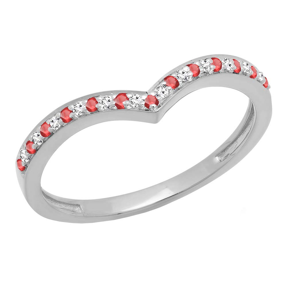 Dazzlingrock Collection 14K Ruby & White Diamond Wedding Stackable Band Guard Chevron Ring, White Gold, Size 7