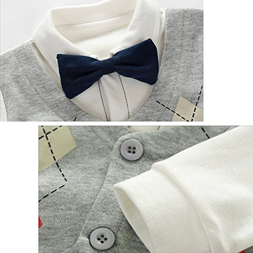 Luyusbaby Baby Boy's Gentleman Romper Outfit with Bow Tie