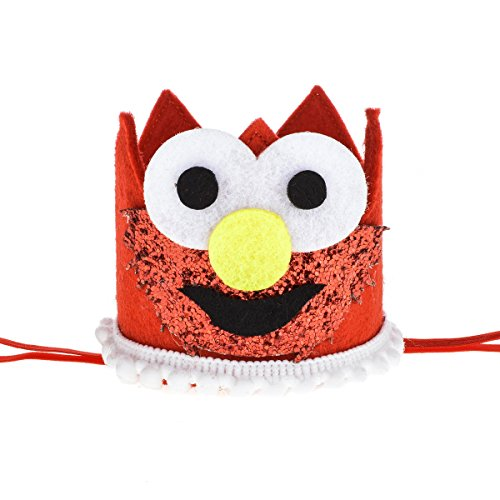 Floral Fall Baby Girl and Boy 1st Birthday Hat Photo Prop Sparkly Gold Crown Elastic Headbands HG-05 (Cartoon Red)