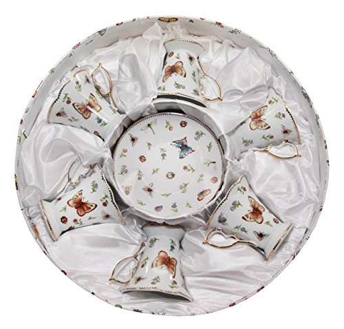 Royalty Porcelain 12pc White Butterfly Miniature Coffee Set, 6 Gold-Plated Cups w/ Saucers, Porcelain