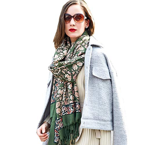 - DANA XU Pure Wool Women Winter Large Scarf Pashmina Shawls and Wraps (Dark green)