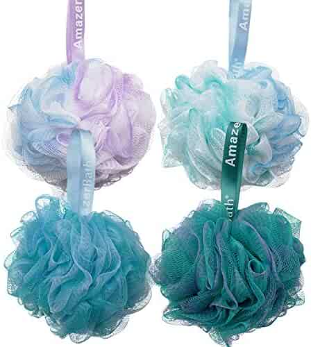 AmazerBath Shower Bath Sponge Shower Loofahs Balls 75g/PCS for Body Wash Bathroom Men Women- Set of 4 Flower Color Pack