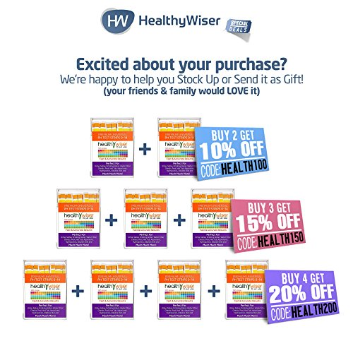 pH Test Strips 0-14, Universal Strips To Test Water Quality For Swimming Pools, Hot Tub, Hydroponics, Aquarium, Kombucha, Household Drinking Water, Soil, Urine & Saliva, Alkaline & Diabetic Diet 100ct by HealthyWiser (Image #8)