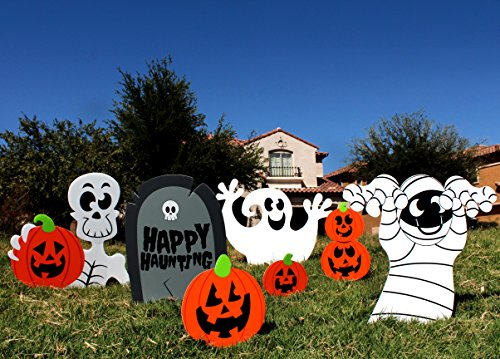 Spooktacular Creations Halloween Decorations Outdoor Skeleton and Ghost Corrugate Yard Stake Signs Halloween Lawn Yard Decorations (Pack of 7) (Halloween Yard Decorations Ghosts)