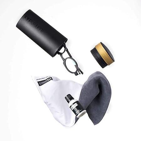 EYESHAKER Set - Patentiertes Brillenreinigungsgerät im Komplettpaket mit EYE-SHAKER, Spezialreiniger und Mikrofaser Brillenpu
