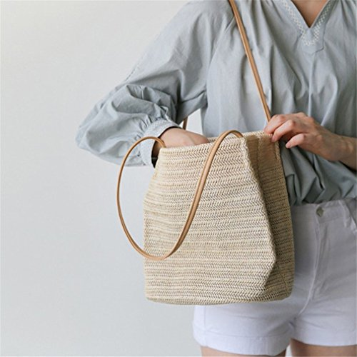 Rattan Bags HandKnitting Bucket Tote beige dark Grass Amuele Linen Weave Woven Bag Straw Beach qnU4g
