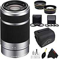 Sony E 55-210mm F4.5-6.3 OSS Lens for Sony E-Mount Cameras (Silver) + Pixi-Advanced Accessory Bundle