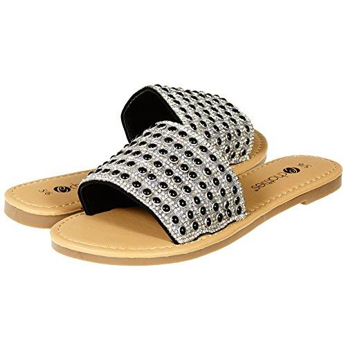 Chatties By Sara Z Womens Open Toe Crystal Rhinestone Pearl Slip-On Flat Slide Sandal Flip Flop Size 7/8 Black