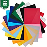 "Heat Transfer Vinyl Assorted Colors - 22 Sheets - 12"" x 12"" - Iron On HTV for T Shirts"