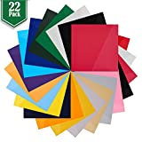 Heat Transfer Vinyl Assorted Colors - 22 Sheets - 12'' x 12'' - Iron On HTV for T Shirts