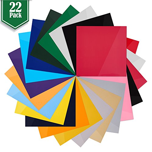 """Heat Transfer Vinyl Assorted Colors - 22 Sheets - 12"""" x 12"""" - Iron On HTV for T Shirts"""