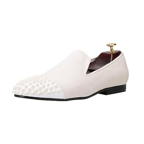 OCHENTA Handmade Men Zapatos de Terciopelo con Remache de Cuero de Los Hombres de Moda Mocasines EU 38-47: Amazon.es: Zapatos y complementos