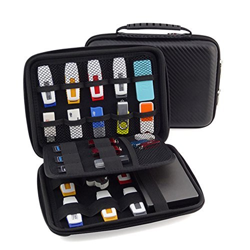 USB Flash Drive Case, Agile-Shp Universial Portable Big Capacity Waterproof Shockproof Electronic Accessories Organizer Holder / Hard Drive Case Bag - ()