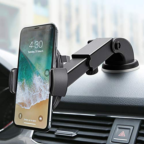 FLOVEME Car Phone Mount Holder Windshield Dashboard Cell Phone Holder for Car One Touch Lock Hands Free Car Mount Compatible with iPhone 11 Pro Max X XS Xr 6 7 8 Samsung S10 S9 S8 Plus Note 10 Google