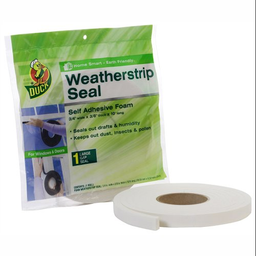 (Duck Brand Self Adhesive Foam Weatherstrip Seal for Large Gaps, 3/4-Inch x 3/8-Inch x 10-Feet, 1 Roll, 1278972)