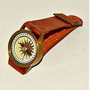 Antique Steampunk Wrist Brass Compass & Sundial-Watch Type Sundial@
