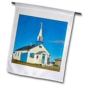 Danita Delimont - Churches - Church, Dene village, Lutsel Ke Northwest Territories-CN06 JMI0010 - Janis Miglavs - 12 x 18 inch Garden Flag (fl_71127_1)