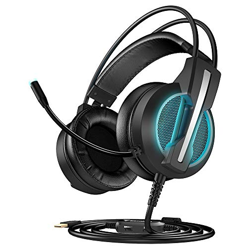 BENGOO GH1 7.1 Gaming Headset for PC, PS4 Gaming Console, USB Headphones with Noise Canceling Mic, 4D Intelligent Vibration, Strong Bass, LED Light