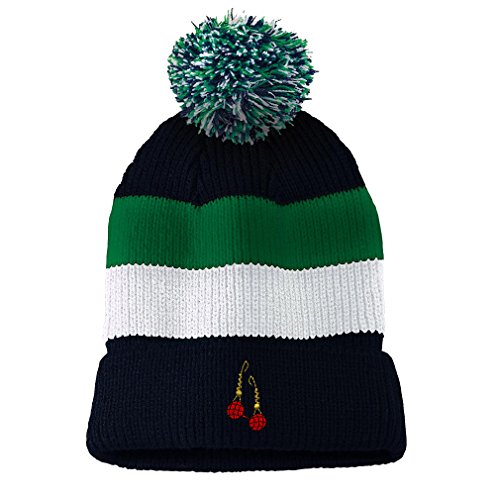 Earings Fashion Jewelry Embroidery Unisex Adult Acrylic Vintage Striped Removable Pom Pom Beanie Skully Hat - Navy/Green/White Stripes, One (Navy White Earings)