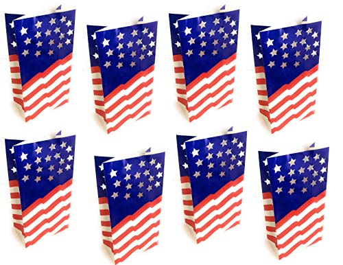 BlackLabel Direct Patriotic American Flag Paper Luminarias Outdoor Party Decorations - 18 Total 11 Inch