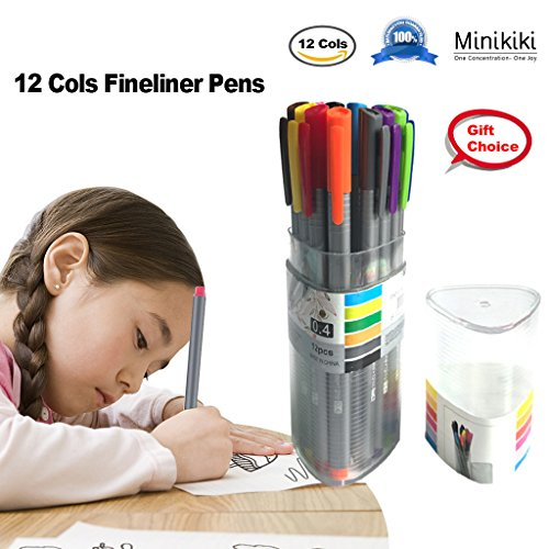 Minikiki Fineliner Color Pens, 12 Colors Journal Pens Set, 0.4mm Sketch Colored Writing Drawing Note Taking Ink Fineliner Pens, Fine Tips Art Markers for School Office Home, for Students, Artists School Days Memory Box