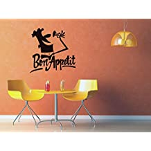 Wall Decal Sticker Bon Appetite Cooker Chef Drawing Lettering Sign Kitchen v48