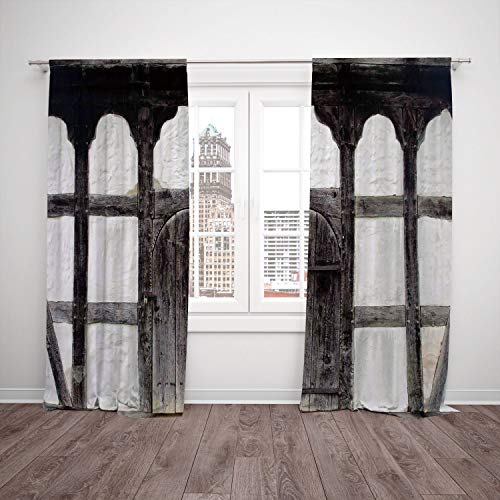 iPrint 2 Panel Set Window Drapes Kitchen Curtains,Shutters Old Door of the Farmhouse Facade Ancient Architectural Detail Timber Framing Charcoal White,for Bedroom Living Room Dorm Kitchen Cafe from iPrint