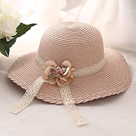 1b7c68da083 Kumkey Foldable Sun Hat Straw Cap Kids Bowknot Hat Summer Beach Sun Hat  Adjustable Wide Brimmed Hat Visor Outdoor Sunscreen Wide Straw Hat for Girls   ...