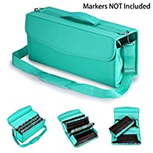 BTSKY 120 Slot Marker Storage Case Lipstick Organizer--Canvas Markers Holder for for Primascolor Markers and Copic Sketch Markers (Green)