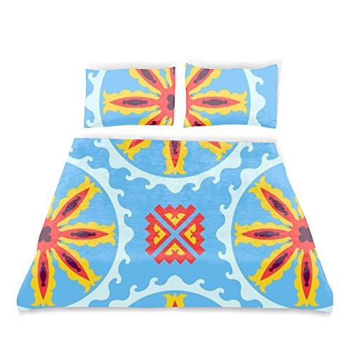 DREES Boy's Room Bedspread Set Twin Size, Ethnic Geometric, Decorative Coverlet Set 2 Piece Pillow Sham ()