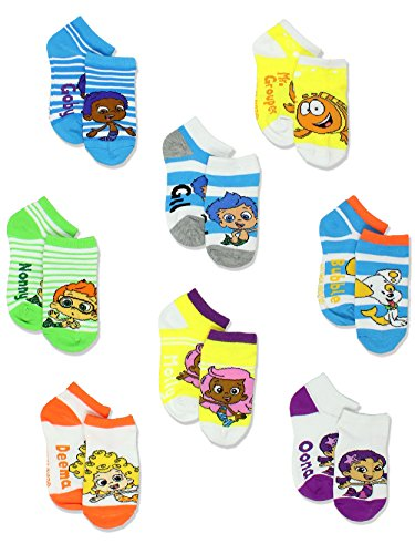Bubble Guppies Boys Girls 8 pack Socks (2T-4T Toddler (Shoe: 4-7), White/Multi) by Nickelodeon