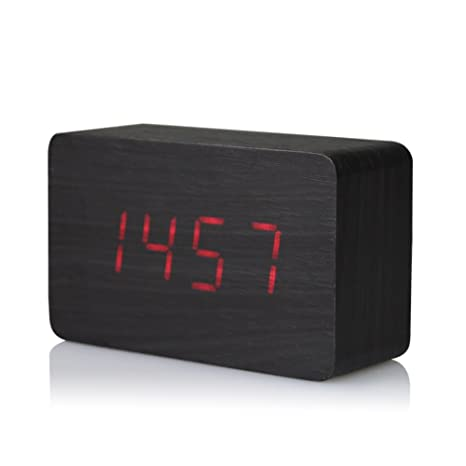 f68e9fd5a Image Unavailable. Image not available for. Color  JIAAE Imitation Wood  Alarm Clock Creative LED Display Silent Electronic Desk Clock Temperature  Voice ...