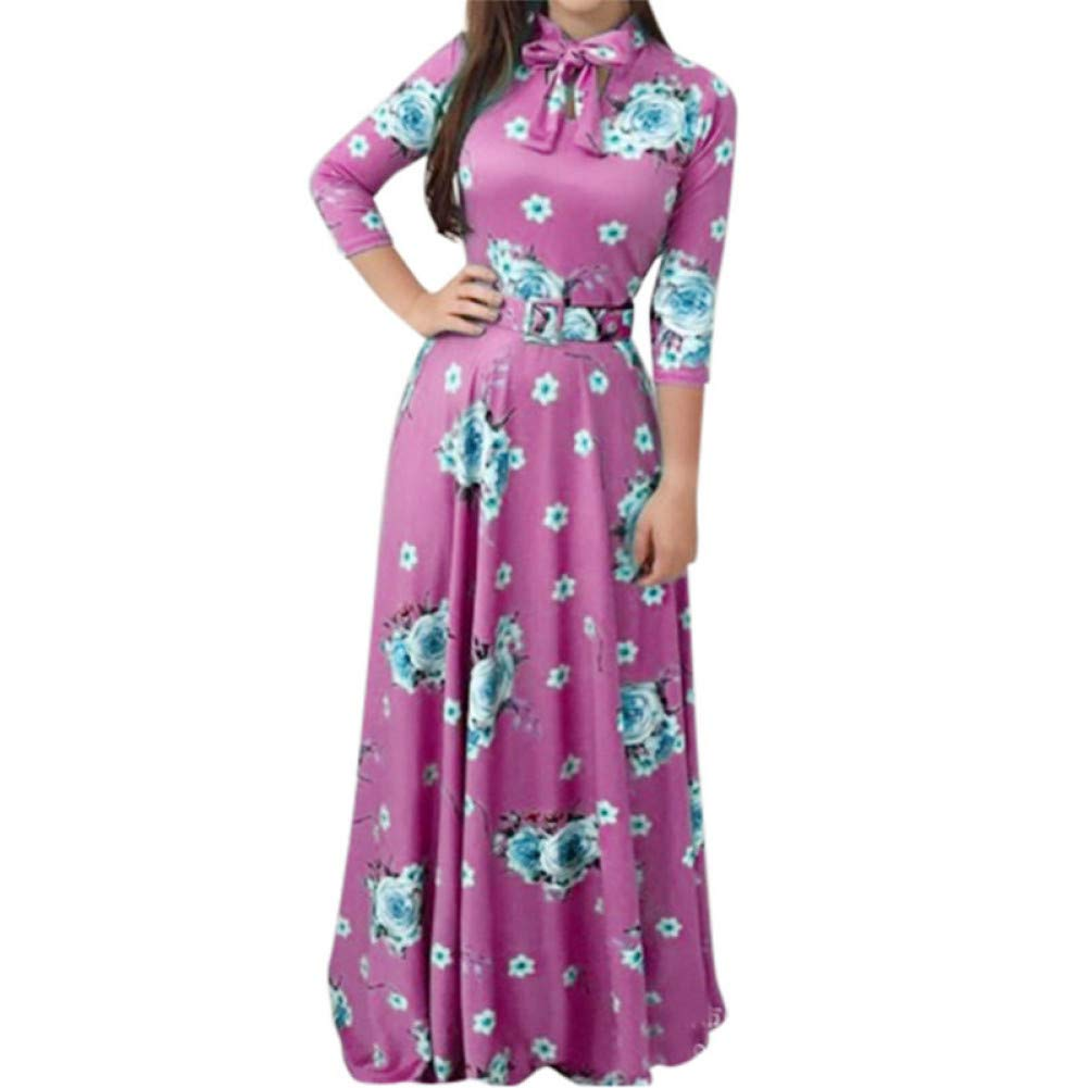 A XIAOPANGHAI Fashion Dress Women Plus Size Print Tie Long Sleeve Party Long Maxi Dress Elegant Casual Women Beach Dress