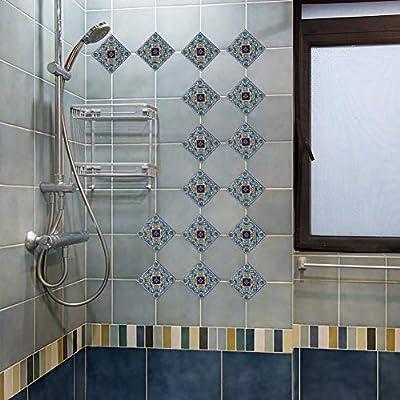 EXTSUD Adesivi Diagonali per Piastrelle Muro Pavimento, Set da 20 Pezzi  10x10cm, Wall Stickers da Mattonelle Parete in PVC Impermeabile Autoadesivo  ...