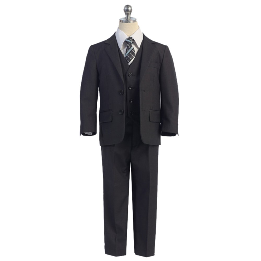 HBDesign Boys' 3 piece 2 Button Notch Lapel Fit Casual Suite Dark Brown by HBDesign