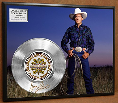GEORGE STRAIT LIMITED EDITION SIGNATURE LASER ETCHED PLATINUM RECORD POSTER ART DISPLAY