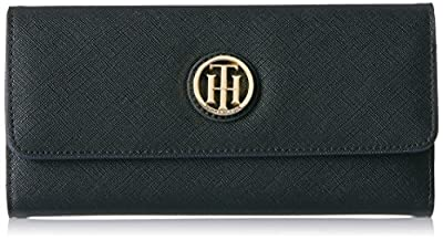Tommy Hilfiger Wallet, Th Serif Signature Saffiano Flap Wallets for Women Wallet