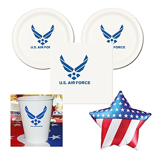 RD US Air Force Party Pack - 16 Guests - Cake Plates, Napkins, Cups Plus Balloon
