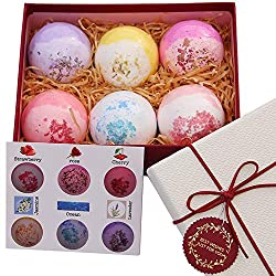 Bath Bombs with Essential Oil and Dry Flowers and Dead Sea Salt Lush SPA Bubble Bath Fizzies for Women boys and girls 6XL Gift Set