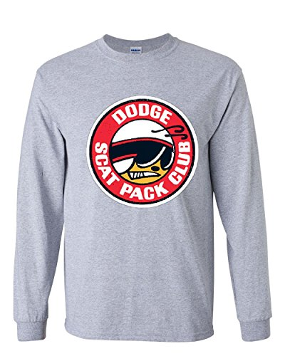 Dodge Scat Pack Club Long Sleeve T-Shirt 1970 Dodge Club Logo Tee Gray S (1970 Dodge Charger Rt For Sale Cheap)