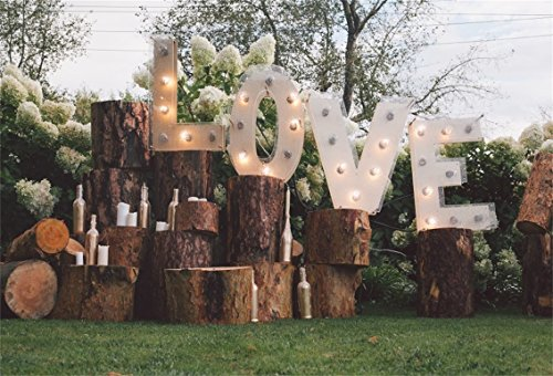 AOFOTO 10x7ft Love Wedding Ceremony Backdrop Rural Wood Stakes Marriage Proposal Decoration Banner Photography Background Courtship Girlfriend Lovers Couple Fiancee Bridal Shower Garden Nuptial Props