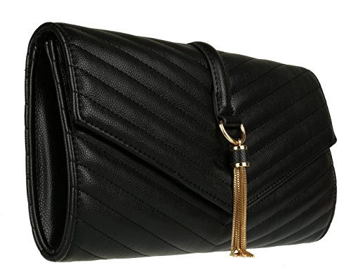 Tassel Girly Clutch HandBags Quilted Girly Bag Tassel Black Black Clutch Bag HandBags Quilted Girly HandBags Quilted xH8CUwq