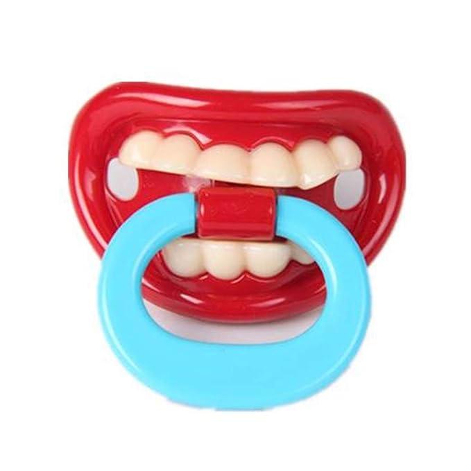 Newin Star Los dientes de leche divertido chupetes divertidos Chupete de silicona suave beso linda con el regalo de la ducha de labios del bebé para ...