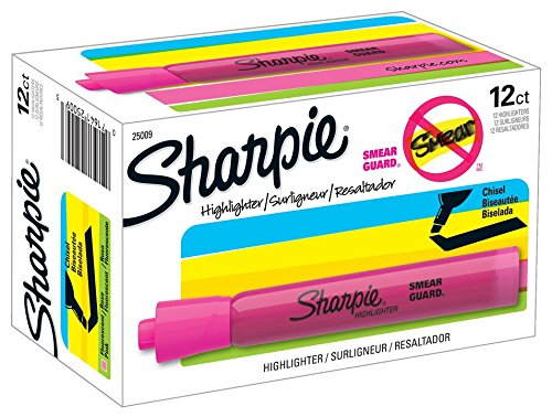sharpie-tank-highlighters-chisel-tip-fluorescent-pink-12-count