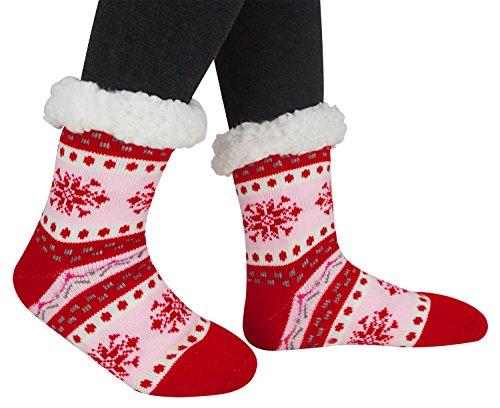 Women's Winter Thick Fleece Lining Sock Christmas Gift Slipper Socks ,Red